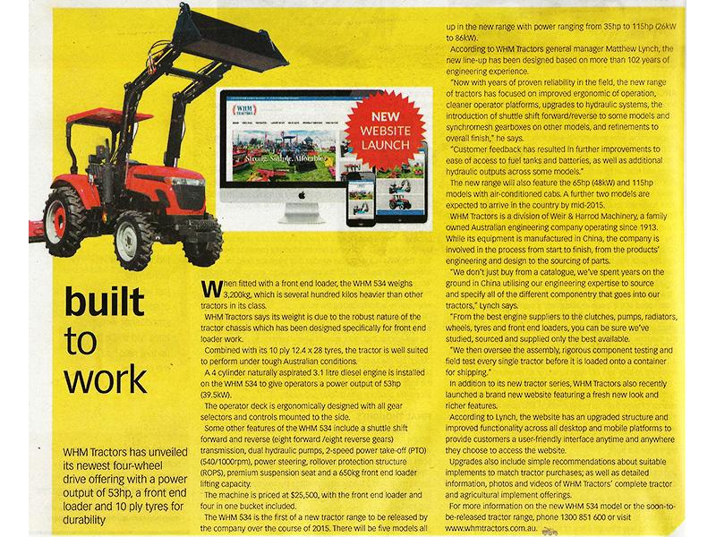 WHM Tractors Editorial F&FM