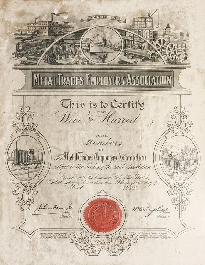 Metal Industry Employers Association 1928